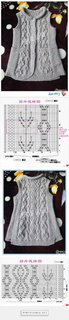 Cabled vest; the post is much longer and includes charts for the rounded shape of bottom fronts ~~ http://www.liveinternet.ru/users/bonito11/post353926150/