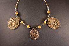 Gold filigree necklace - bohemian necklace - filigree jewelry - polymer clay jewelry - boho necklace - gold necklace - polymer clay filigree