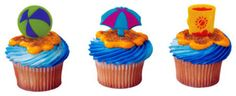 Sand Toys  Cupcake Picks Decoration Cake Topper Beach Lake Party Supplies 24 #Unbranded
