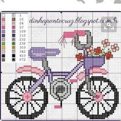 Pretty Cute Bike Cross Stitch or Perler Bead Pattern Cross Stitch Baby, Cross Stitch Samplers, Modern Cross Stitch, Cross Stitch Flowers, Cross Stitch Charts, Cross Stitch Designs, Cross Stitching, Cross Stitch Embroidery, Hand Embroidery