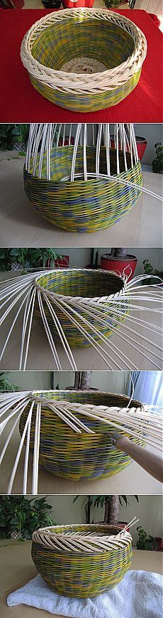 Weaving from newspapers. Beautiful zagibka of edge of a basket. MK - the Forum Paper Weaving, Weaving Art, Weaving Patterns, Newspaper Basket, Newspaper Crafts, Willow Weaving, Basket Weaving, Weaving For Kids, Basket Crafts