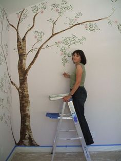 Simple Tree Wall Murals - Painting Tree Wall Murals Decorating Ideas- Start the trunk on the landing & branch up & out to the big front wall Tree Wall Murals, Tree Wall Art, Diy Wall Art, Mural Painting, Mural Art, Diy Painting, Wall Paintings, Tree Wall Painting, Painting Flowers