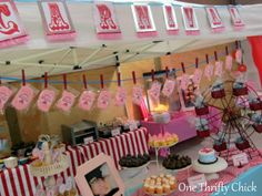 One Thrifty Chick: First Birthday Carnival Party Love the cotton candy with clothespins. I Party, Party Time, Party Ideas, 3rd Birthday, Birthday Parties, Birthday Ideas, Carnival Girl, Despicable Me Party, Block Party