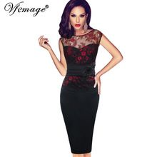 Vfemage Women Sexy embroidered Floral Lace Tunic Party Evening Special Occasion Bridesmaid Mother of Bride Embroidery Dress 4075(China (Mainland))