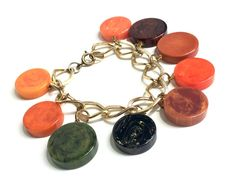 Vintage Bracelet Bakelite Charm Bracelet Rare Collectable | Etsy Vintage Lockets, Vintage Jewelry, Vintage Bracelet, Unique Jewelry, Vintage Gifts, Unique Vintage, Vintage Items, Vintage Cigarette Holder, Leather Evening Bags