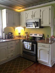 Beadboard kitchen backsplash!