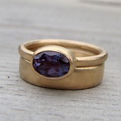 Wedding Band & Engagement Ring Set - Color-Change Alexandrite and Recycled 14k Gold Rings