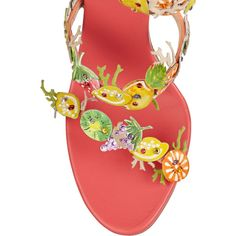 René Caovilla Fruit-appliquéd leather sandals (€580) ❤ liked on Polyvore featuring shoes, sandals, leather slip-on shoes, multi color high heel sandals, wrap around ankle sandals, multi colored sandals and slip on shoes