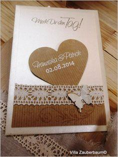 Bastelset Save The Date Vintage Butterfly. Bastelt Eure Hochzeitskarten einfach und schnell selber mit unseren Bastelsets.