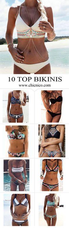 Starting from $14.99! Amazing top 10 bikinis are at www.chicnico.com! Bikini Swimwear Swimsuit 2016 Boho Strappy Floral Halter