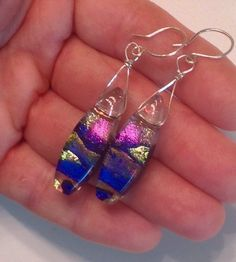 Beautiful jewel tone fused dichroic glass earrings with incredible depth and shimmering layers sterling Blue pink silver ear wires handmade by ChrysalisDreams on Etsy