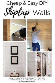 How to Install Shiplap in 4 Simple Steps / Simple DIY tutorial for installing Joanna Gaines style faux shiplap - perfect for every room in the home, including bedroom, hallway, living room, kitchen, entryway, dining room and even above the fireplace! Can be stained, painted or whitewash for the farmhouse look of your choosing. Learn the cheap and easy way to install DIY shiplap walls and get ideas for how to add shiplap to your home. #shiplap #diy #diyshiplap #fixerupperstyle