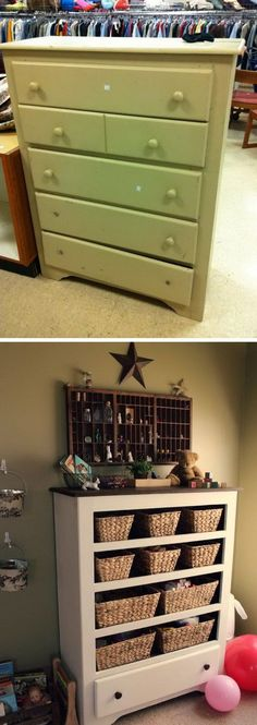 Turn a $9.50 thrift store drawer into a functional storage space for craft supplies or toys.