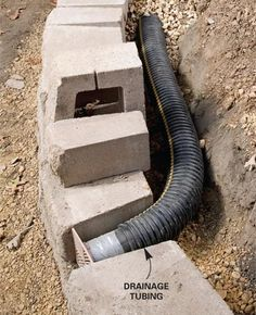 Lay perforated drainage tubing at base  Water-soaked soil is the worst enemy of retaining walls because it exerts enormous pressure behind the wall. Adding good drainage behind block or stone walls is crucial for long-lasting, bulge-free walls. Start by laying perforated plastic drainage tubing along the base of the wall slightly above ground level so it can drain to daylight. Slope the tubing about 1/4 in. per foot.
