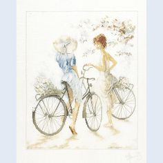 Girls on Bicycle - counted cross-stitch kit Lanarte