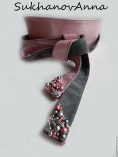 """Купить Пояс -кушак """"Duos"""" - бледно-розовый, серый, серый и розовый, пояс, почс-кушак"""