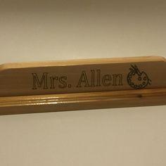 Custom Wood Desk Name Plate   Custom Engraving   Teacher Name Plate    Teacher Gift   Desk Plate   Artist Gift   Thank You Gift