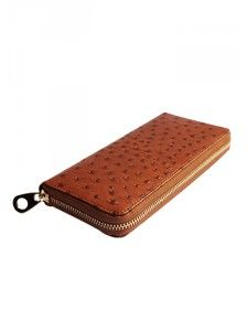 Lydia  Wallet Ostrich Leather Brown