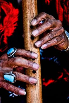 """Flautist Hands"" - Native American playing a wooden flute - by Ray Laskowitz"