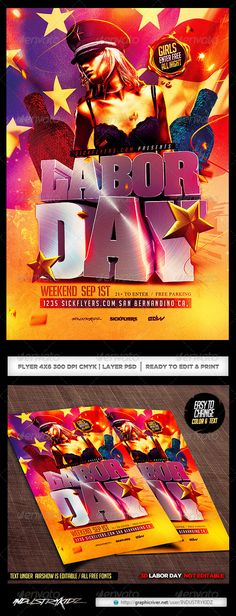 Labor Day Cookout Party Flyer Template | Party Flyer, Flyer