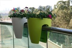 If you really want some #flowers and #plants on your #balcony, but you don't have the space for planters, these rail planters are great!