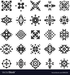 Ethnic or tribal style black and white geometry flat elements set isolated vector illustration Motif Vector, Vector Pattern, Pattern Art, Motif Navajo, Navajo Pattern, Diy Carpet, Rugs On Carpet, Hall Carpet, Cheap Carpet