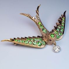 Antique Demantoid Diamond Gold Bird Brooch / Pin - Antique Jewelry | Vintage Rings | Faberge Eggs