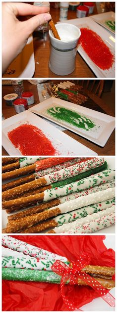 Christmas White Chocolate-Dipped Pretzel Rods // Now I really want to make these!!