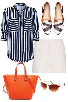 look a rayas para ir de picnic. Camisa rayada, SuiteBlanco; shorts blancos, Mango; mocasines blanco con negro y tote naranja, Zara; lentes cat-eye, ASOS