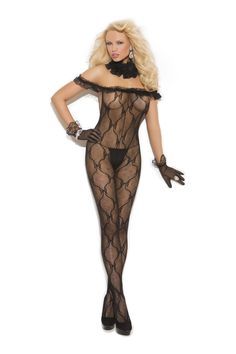 cool Bow Lace Bodystocking W/Ruffle Top - http://emeliebea.com/shop/bodystockings-lace/bow-lace-bodystocking-wruffle-top/