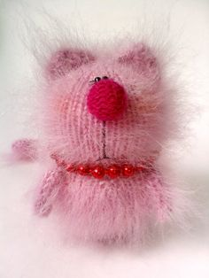 Pink Kitty Mohair Amigurumi Toys Cat in Pink by MiracleStore