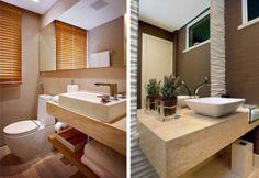 marmore travertino bruto banheiro com espelho de sobrepor