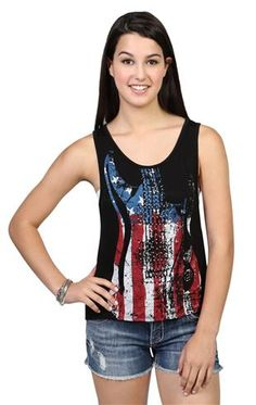 Guitar American Flag Tank Top with Deep Armholes and High Low Hem