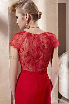 2013 Red V-neck Lace Cap Sleeve Long Mermaid Party Dress 2013