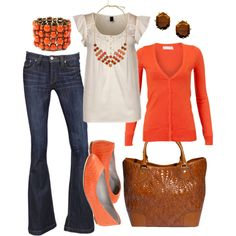 I like this shade of orange/tangerine -created by htotheb on Polyvore