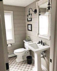 Farmhouse bath remodel by with gorgeous shiplap walls! Beautiful Farmhouse Bathroom Design and Decor Ideas You Will Go Crazy For Wc Retro, Bad Inspiration, Outdoor Sconces, Ship Lap Walls, Bathroom Renos, Bathroom Interior, Industrial Bathroom, Interior Walls, Bathroom Plumbing
