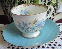 Aynsley Un-Named Pale Blue with Blue Flowers Bone China Tea Cup and Saucer - Made in England