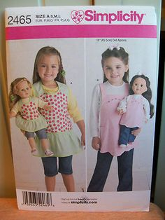 """American Girl 18"""" Doll Clothes Child Matching Aprons Pattern Simplicity 2465   eBay"""