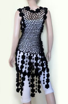 Crochet Patterns Dress Boho hippie vintage dress tunic by GlamCro on Etsy Knit Baby Dress, Black Crochet Dress, Crochet Jacket, Crochet Blouse, Knit Crochet, Hippie Vintage, Mode Crochet, Mode Boho, Prom Dress Shopping