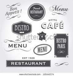 set of french vintage ornaments badges banners labels signs bistro cafe restaurant with french font type French Font, French Cafe, French Bistro, French Vintage, French Bakery, French Kitchen, Vintage Restaurant, Logo Restaurant, Vintage Bakery