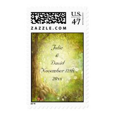 Enchanted Forest Scene Save The Date Wedding Postage Stamp