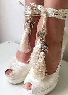 İvory Lace Wedding Wedges Wedges with TasselsIvory by KILIGDESIGN