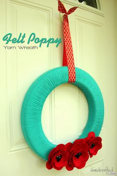 Summery Felt Poppy Yarn Wreath