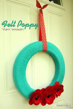 Summery Felt Poppy Yarn Wreath