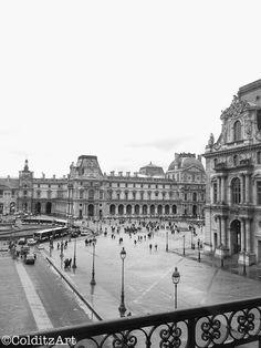 Rainy Louvre. Paris, France. Black and White Travel Photography. Photographer: Jennifer Colditz $15.00