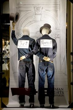 window display in support of gay marriage by Levi Strauss    Mannequin Madness sells new and gently used mannequins for all your window display needs.