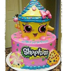 Here's a great picture of a really cute Shopkin cake!! We really love it! This would be a great birthday cake!! Originally by @cakeguide #shopkincake #cake #socute