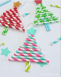 bricolage Noël enfant - trois sapins de Noël mignons en pailles en papier rayées