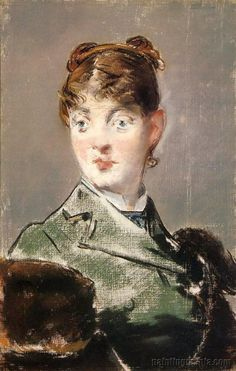 """Parisienne, Portrait of Madame Jules Guillemet"" by French artist - Edouard Manet Pastel on canvas, Dimensions unknown, Ordrupgaard Collection - Copenhagen ~ Copenhagen, Denmark. Camille Pissarro, Joan Mitchell, Edouard Manet Paintings, Pierre Auguste Renoir, Paul Cézanne, Francisco Goya, Peter Paul Rubens, Paul Gauguin, Post Impressionism"