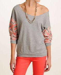Alternative Apparel 'Julia' Printed Sleeve Pullover Sweatshirt